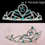 15th Birthday Ocean Blue. Crystal Prom Crown Tiara T59