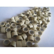 100 Pcs Blonde 5mm Silicone Lined Micro-ring Links Beads Linkies for I Stick Hair Extension Installation and Feathers