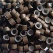 200 Pcs Brown 5mm Silicone Lined Micro-ring Links Beads Linkies for I Stick Hair Extension Installation and Feathers