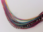 "Feather Hair Extension 5""-18cm Yellow, Pink,aquamarine & Grizley Feathers Hair Extension Made up of 5 Quality Salon Feathers"