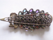 Lovely Vintage Bronze Alloy Crystal Peacock Hair Clip