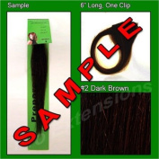 #2 Dark Brown, 15cm Sample of Clip on in Human Hair Extensions Set