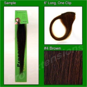 #4 Brown, 15cm Sample of Clip on in Human Hair Extensions Set