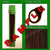 #6 Medium Chestnut Brown, 15cm Sample of Clip on in Human Hair Extensions Set