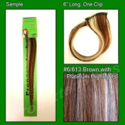 #6/613 Brown with Platinum Highlights, 15cm Sample of Clip on in Human Hair Extensions Set
