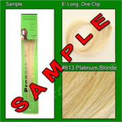 #613 Platinum Blonde, 15cm Sample of Clip on in Human Hair Extensions Set