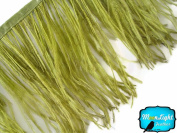 Moonlight Feather , Olive Green Ostrich Fringe Trim Feather - 10cm Strip of Ostrich Feathers
