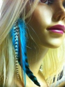 """Indian Blue Clip on Feather Hair Extension Approx 6""""-18cm Long Salon Quality Feathers"""
