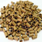 200 PCS 3.5 mm Light Brown Colour Copper Tubes Beads Locks Micro Rings for I Tipped Human Hair Extensions