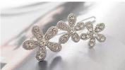 Rhinestone Flower Hair Clip - Crystal Silver
