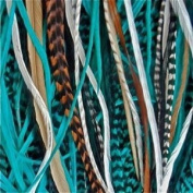 """5 Genuine 8""""-25cm Turquoise,brown,white & Grizzly Feathers for Hair Extension"""