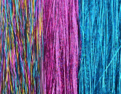 Hair Tinsel, 21 Strands, Sparkling Pink, Sparkling Turquoise, Shiny Rainbow, 7 Strands Each FREE HOOK TOOL and 21 MICRO BEADS for Installing.