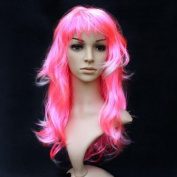 Sexy Long Curly Hair Wig Cosplay Wavy Full Wigs - Pink