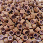 200 PCS 5mm Auburn Brown Silicone Lined Micro Rings Links Beads Linkies For I bonded Tipped Hair Extensions