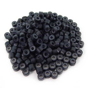 200 PCS 5mm Black Colour Silicone Lined Micro Rings Links Beads For I bond Stick Tip Feather Hair Extensions