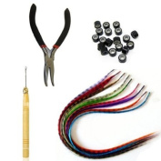 Kingmys 20 GRIZZLY Synthetic Coloured Feather Hair Extension kit with beads +Tools