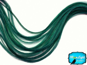 Moonlight Feather, Hair Extension Feathers - Solid Peacock Green - 11.5+ Inches Long, 6 Pieces