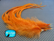 Moonlight Feather, Hair Extension Feathers; Solid Orange Thick Rooster Feathers; 29cm Long and Up; 6 Pieces Per Pack