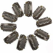 Tanya 50pcs Brown Snap Clips U-shape Metal Clips for Hair Extensions DIY