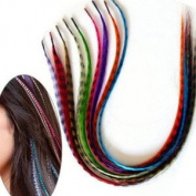 30 Synthetic Grizzly Feather Hair Extensions by iBis Beauty