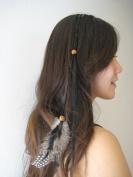 Feather Hair Extension Clip Ins Black Colour 15-41cm