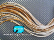 Moonlight Feather, Hair Extension Feathers - Medium Honey Ginger Colour - 7-25cm Long, 10 Feathers