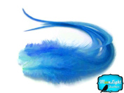 Moonlight Feather, Hair Extension Feathers; Solid Blue Thick Rooster Feathers; 7-28cm Long; 6 Pieces Per Pack