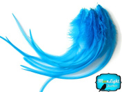 Moonlight Feather, Hair Extension Feathers; Solid Light Blue Thick Rooster Feathers; 7-28cm Long; 6 Pieces Per Pack