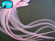 Moonlight Feather, Hair Extension Feathers; Solid Light Pink Thick Rooster Feathers; 7-28cm Long; 6 Pieces Per Pack