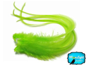 Moonlight Feather, Hair Extension Feathers; Solid Lime Thick Rooster Feathers; 7-28cm Long; 6 Pieces Per Pack