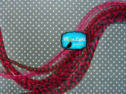 Hair Extension Feathers; Claret Thin Long Grizzly Rooster Feathers; 10 Pieces Per Pack