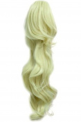 L-email 50cm Long Blonde Colours Clip on Ponytail Hairpiece Extension Wavy Fashion Wig Pj18-blonde