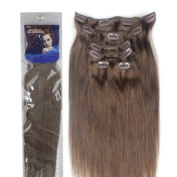 36cm Silky Straight 100% Human Hair Clip On In Extensions 6 Piece Set Colour 8 Medium Brown
