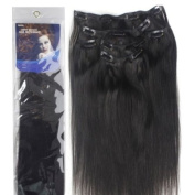 36cm Silky Straight 100% Human Hair Clip On In Extensions 6 Piece Set Colour 1B Off-Black
