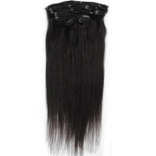Emosa 7Pcs 100% Real Human Hair Clips In Extensions 38cm #1 Jet Black Full Head Silky soft