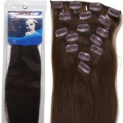 Lilu 46cm 7pcs Remy Clips in Human Hair Extensions 04 Medium Brown 70g for Women's Beauty Hairsalon in Fashion