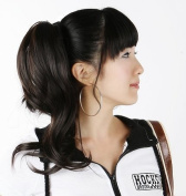 Silver J Wavey hair ponytail extension with tie up ribbon, instant DIY style, black