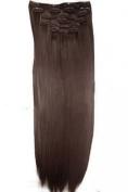 L-email 50cm 8pcs Straight Heat-resistant Fibre Clip in Hair Extensions Pj16 #2 Darkest Brown