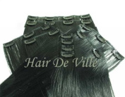 10 Pcs Full Head Heat Resistant Synthetic Clip In Hair Extensions 41cm 125 g Colour #1 Black