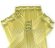10 Pcs Full Head Heat Resistant Synthetic Clip In Hair Extensions 41cm 125 g Colour Light Blonde
