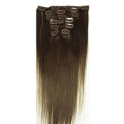 Vivalaangel 100% Indian Remy Clip In Human Hair Extensions Dark Brown 38cm 7pcs/set 70g Straight
