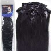 50cm 7pcs Straight Remy Clip in Real Human Hair Extensions #1 Jet Black