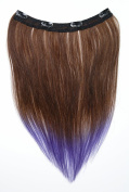 Tressecret Ombre Tail Dip-Dye Clip In Extension, 41cm 46cm , Dark Brown and Purple