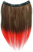 Tressecret Ombre Tail Dip-Dye Clip In Extension, 41cm 46cm , Dark Brown and Red