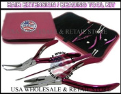 USA W & R BRAND PINK Micro Ring Hair Extension & Beading Tool Kit Plier Set