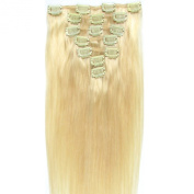 Vivalaangel 100% Indian Remy Clip In Human Hair Extensions Bleach Blonde 38cm 7pcs/set 70g Straight