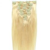 Vivalaangel 100% Indian Remy Clip In Human Hair Extensions Bleach Blonde 38cm 7pcs/set 70g Straight