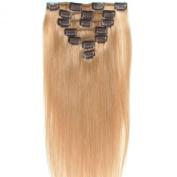 Vivalaangel 100% Indian Remy Clip In Human Hair Extensions Honey Blonde 38cm 7pcs/set 70g Straight