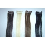 4 Piece Straight Brown, Darkest Brown, Black, Blonde Clip in Human Hair Extension Streaks