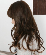 Silver J Clip in hair extension for full head 46cm , beautiful wavy synthetic hair, medium dark brown. 14 pieces.